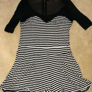3/4 sleeve sheer and striped romper